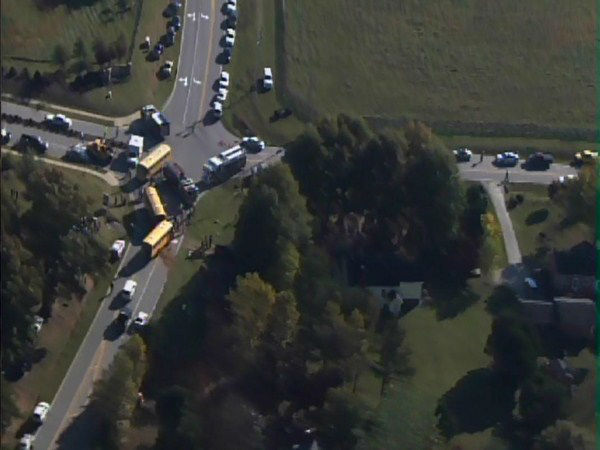"<div class=""meta ""><span class=""caption-text "">A bus from Franklinton Elementary and another from Youngsville Elementary collided at Bert Winston and Hicks Roads.  (WTVD Photo/ ABC11 Chopper HD)</span></div>"