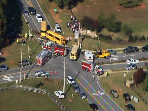 A bus from Franklinton Elementary and another from Youngsville Elementary collided at Bert Winston and Hicks Roads.  <span class=meta>(WTVD Photo&#47; ABC11 Chopper HD)</span>