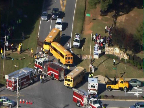 A bus from Franklinton Elementary and another from Youngsville Elementary collided at Bert Winston and Hicks Roads.  <span class=meta>(WTVD Photo)</span>