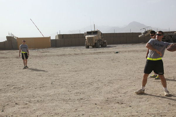 "<div class=""meta image-caption""><div class=""origin-logo origin-image ""><span></span></div><span class=""caption-text"">Troops from the 82nd Airborne out of Fort Bragg play football to relax in Afghanistan. (Photo/Dept. of Defense)</span></div>"