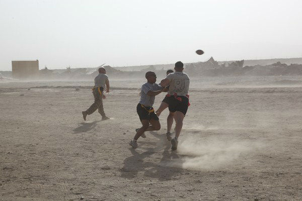 Troops from the 82nd Airborne out of Fort Bragg play football to relax in Afghanistan. <span class=meta>(Photo&#47;Dept. of Defense)</span>