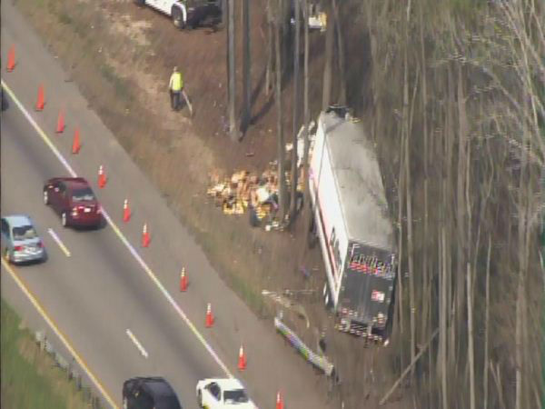 The driver was not injured in the crash, but traffic was backed up for miles Sunday <span class=meta>(WTVD Photo&#47; Chopper HD)</span>