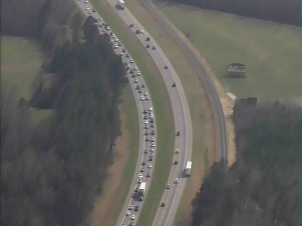 "<div class=""meta image-caption""><div class=""origin-logo origin-image ""><span></span></div><span class=""caption-text"">The driver was not injured in the crash, but traffic was backed up for miles Sunday (WTVD Photo/ Chopper HD)</span></div>"