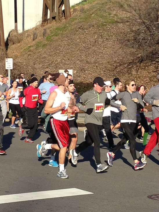 "<div class=""meta ""><span class=""caption-text "">Each of the 8,000 racers at this year?s Krispy Kreme Challenge consumed 2,400 calories, 12 doughnuts, and ran five miles in one hour (WTVD Photo/ Lori Denberg)</span></div>"