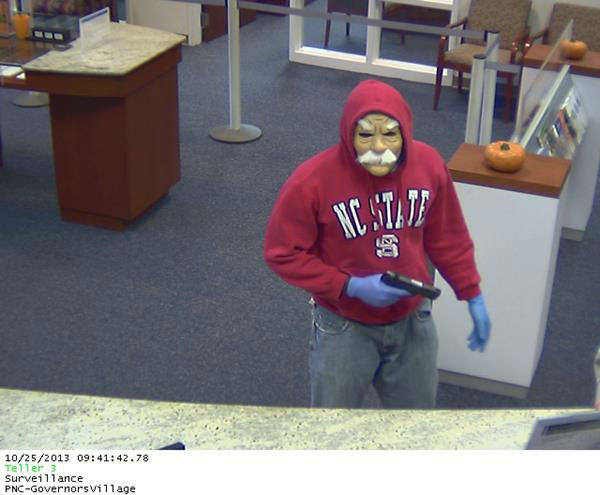 Two men wearing Halloween masks robbed a bank on Governors Drive armed with handguns <span class=meta>(WTVD Photo&#47; Chatham County Sheriff&#39;s Office)</span>