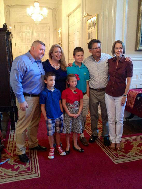 The governor and first lady gave away more than 200 backpacks filled with school supplies to military children at the Executive Mansion <span class=meta>(Photo&#47;Photo courtesy: McCrory staffmember)</span>