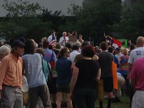 "<div class=""meta ""><span class=""caption-text "">Protesters are angry about the rightward tilt of the state since Republicans gained control of the state legislature and the governor's mansion  (WTVD Photo)</span></div>"