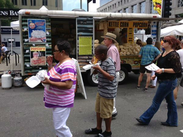 Hundreds of people spent their &#34;SUN&#34;day after Tropical Storm Andrea in downtown Raleigh at the Food Truck Rodeo <span class=meta>(WTVD Photo&#47; Lori Denberg)</span>