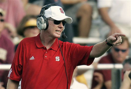 "<div class=""meta ""><span class=""caption-text "">North Carolina State coach Tom O'Brien yells instructions in the second quarter of a football game against Boston College, Saturday, Sept. 8, 2007, in Boston. Boston College won 37-17.  (AP Photo/ Michael Dwyer)</span></div>"