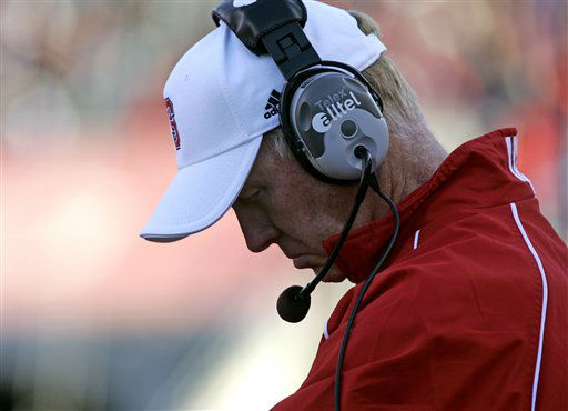 North Carolina State coach Tom O&#39;rien hangs his head during the second half of a football game against Maryland in Raleigh, N.C., Saturday, Nov. 24, 2007. Maryland won 37-0.  <span class=meta>(AP Photo&#47; Gerry Broome)</span>