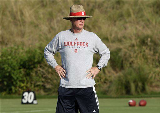 "<div class=""meta ""><span class=""caption-text "">North Carolina State football coach Tom O'Brien watches during practice in Raleigh, N.C., Tuesday, Aug. 11, 2009. Twice before, North Carolina State has played through injuries and a slow start to make a late-season surge under Tom O'Brien. Last year, that run included a bowl game and the emergence of an all-conference quarterback.  (AP Photo/ Gerry Broome)</span></div>"
