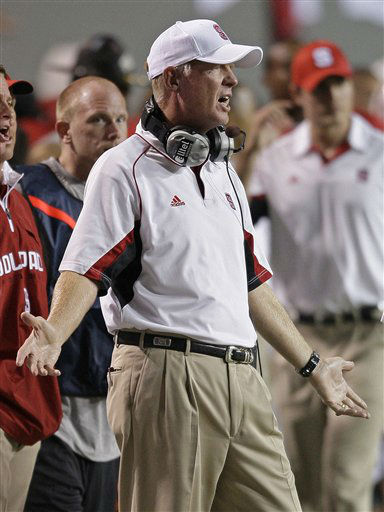 North Carolina State coach Tom O&#39;Brien reacts on the sidelines during the second half of an NCAA college football game against  South Carolina in Raleigh, N.C., Thursday, Sept. 3, 2009. South Carolina won 7-3.  <span class=meta>(AP Photo&#47; Gerry Broome)</span>