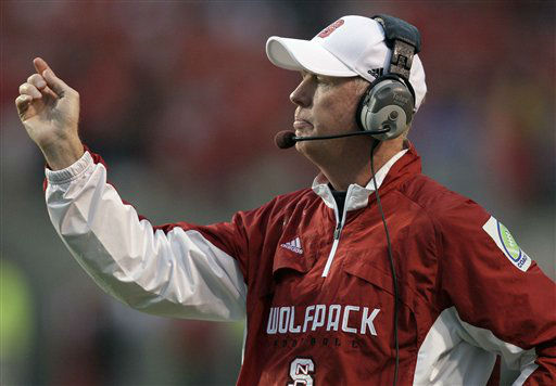 "<div class=""meta ""><span class=""caption-text "">North Carolina State coach Tom O'Brien directs his team during the second half of an NCAA college football game against Pittsburgh in Raleigh, N.C., Saturday, Sept. 26, 2009. North Carolina State won 38-31. (AP Photo/ Gerry Broome)</span></div>"