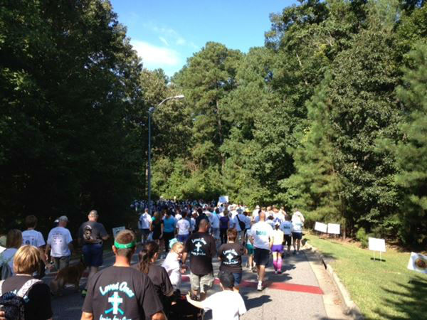 Hundreds came out to the 11th Annual Gail Parkins Memorial Ovarian Cancer Walk and 5K Run at Sanderson High School in Raleigh on Saturday <span class=meta>(WTVD Photo&#47; Lori Denberg)</span>