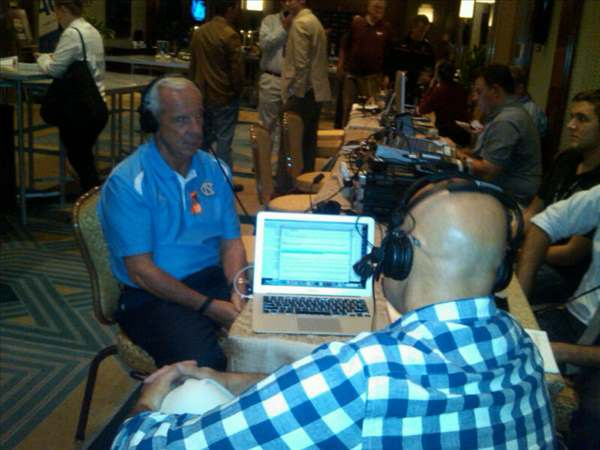 "<div class=""meta ""><span class=""caption-text "">Roy Williams on radio row. (WTVD Photo/ Charlie Mickens)</span></div>"