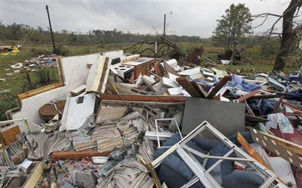 Belongings are strewn through a damaged home in Vale, N.C., Wednesday, Oct. 27, 2010 after powerful thunderstorms moved through the area. At least eleven people were hurt and eight homes damaged when a possible tornado touched down in Lincoln County in western North Carolina Tuesday evening, emergency officials said. (AP Photo/Chuck Burton)
