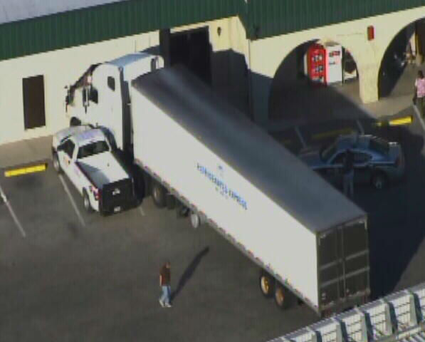 A tractor trailer struck the Pilot Travel Plaza on Sadler Road in Dunn Thursday afternoon. No one was injured. It happened near exit 75 of I-95.  <span class=meta>(WTVD Photo)</span>