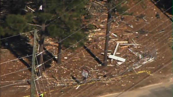 Authorities in Fayetteville are investigating an early Wednesday morning explosion at a vacant home in 3300 block of Cumberland Road.  <span class=meta>(Photo&#47;Chopper11 HD)</span>