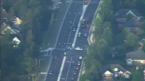 "<div class=""meta ""><span class=""caption-text "">Authorities say car crashed into an utility pole on Falls of Neuse Road at Tabriz Point in Raleigh early Tuesday morning, knocking down power lines. (Photo/Chopper11 HD)</span></div>"