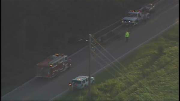 "<div class=""meta ""><span class=""caption-text "">Photos from Chopper 11 HD of a collision on NC-98 at NC-96 in Zebulon early Friday morning.  (Photo/Chopper11 HD)</span></div>"