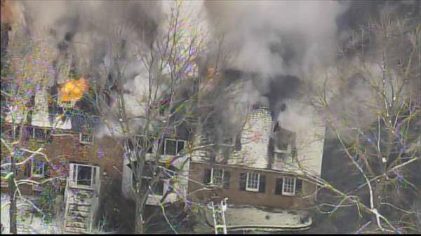 Blaze broke out at a home in the 2300 block of Heartley Drive off Creedmoor Road Wednesday morning.  <span class=meta>(Photo&#47;Chopper11 HD)</span>