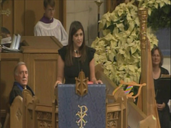 "<div class=""meta ""><span class=""caption-text "">Cate Edwards speaks at her mother's funeral at the Edenton Street United Methodist Church. (WTVD Photo)</span></div>"