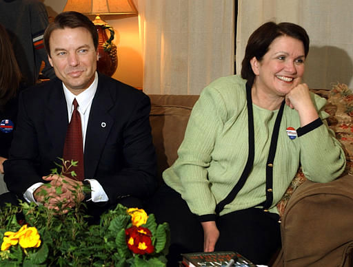 Democratic presidential hopeful Sen. John Edwards, D-N.C., and his wife Elizabeth, right, smile as they watch primary election returns at the home of a friend in Columbia, S.C., Tuesday, Feb. 3, 2004.  Elections were held in South Carolina and six other states for the countries&#39; second primary elections.  <span class=meta>(AP Photo&#47; STEVEN SENNE)</span>