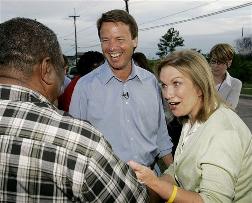 Democratic presidential hopeful and former North Carolina Sen. John Edwards, center, and his wife, Elizabeth, right greet Henery Phipps while taking a walking tour of the 9th Ward in New Orleans, Sunday, July 15, 2007. Phipps was living in a FEMA trailer wlhile rebuilding his home.  <span class=meta>(AP Photo&#47; Alex Brandon)</span>