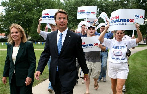 Democratic presidential hopeful former Sen. John Edwards, D-N.C., and wife Elizabeth, left, arrive at the ABC News Democratic debate with supporters at Drake University in Des Moines, Iowa, Sunday, Aug. 19, 2007.  <span class=meta>(AP Photo&#47; Kevin Sanders)</span>