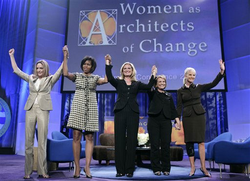 "<div class=""meta ""><span class=""caption-text "">Presidential candidate's spouses, from left, Jeri Thompson, Michelle Obama, Ann Romney, Elizabeth Edwards, and Cindy Hensley McCain pose together after speaking at the California Governor and First Lady's Conference on Women in Long Beach, Calif. on Tuesday, Oct. 23, 2007.  (AP Photo/ Matt Sayles)</span></div>"