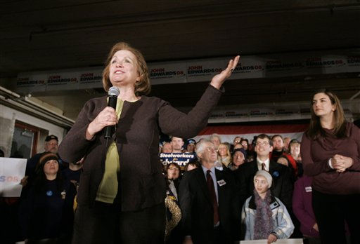"<div class=""meta ""><span class=""caption-text "">Elizabeth Edwards, wife of Democratic Presidential hopeful, former Sen. John Edwards, D-N.C., addresses a crowd as her daughter Cate, right, looks on during a campaign stop in Manchester, N.H., early Friday, Jan. 4, 2008. John Edwards addressed the crowd after being introduced by his wife.  (AP Photo/ Steven Senne)</span></div>"