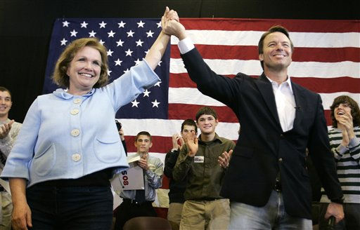 In this Tuesday, Jan. 1, 2008, file photo, Democratic presidential hopeful former Sen. John Edwards, D-N.C., right, and his wife Elizabeth arrive at a campaign rally in Ames, Iowa. Edwards on Friday, Aug. 8, 2008, admitted to an extramarital affair while his wife was battling cancer. He denied fathering the woman&#39;s daughter. <span class=meta>(AP Photo&#47; Paul Sancya)</span>