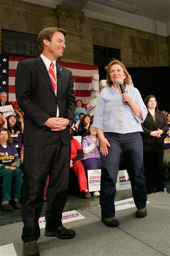 "<div class=""meta ""><span class=""caption-text "">Democratic presidential hopeful former Sen. John Edwards, D-N.C., and his wife Elizabeth, right, address a crowd during a campaign stop in Manchester, N.H., Sunday, Jan. 6, 2008.  (AP Photo/ Steven Senne)</span></div>"