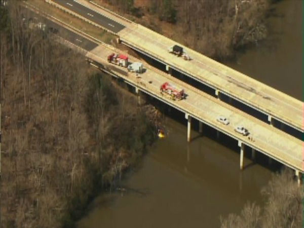 A truck plunged off the side of a bridge into the Haw River in Chatham County. <span class=meta>(WTVD Photo)</span>