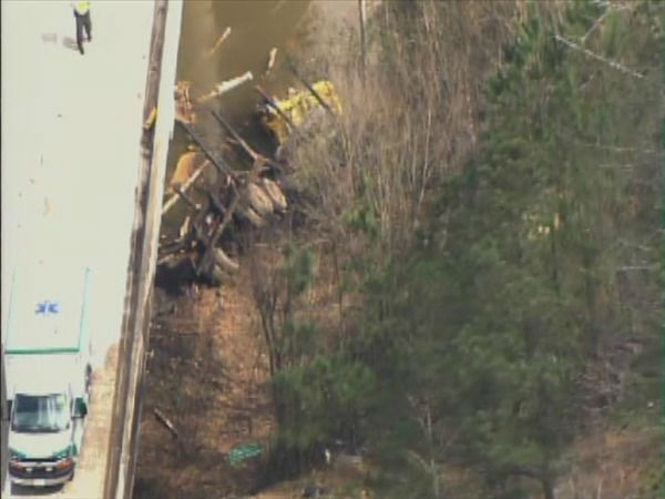 "<div class=""meta image-caption""><div class=""origin-logo origin-image ""><span></span></div><span class=""caption-text""> A truck plunged off the side of a bridge into the Haw River in Chatham County. (WTVD Photo)</span></div>"
