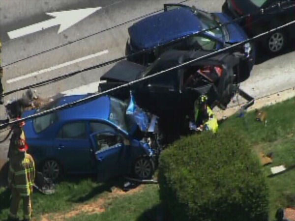 Heavy damage to vehicles at S. Wilmington at Chapanoke Rd. <span class=meta>(WTVD Photo)</span>