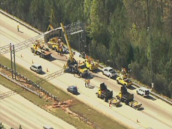 A contractor&#39;s dump truck being using in a repaving project on I-540 Thursday hit a digital message sign in the eastbound lanes just East of Six Forks Rd., destroying it and tying up traffic for hours. <span class=meta>(WTVD Photo)</span>