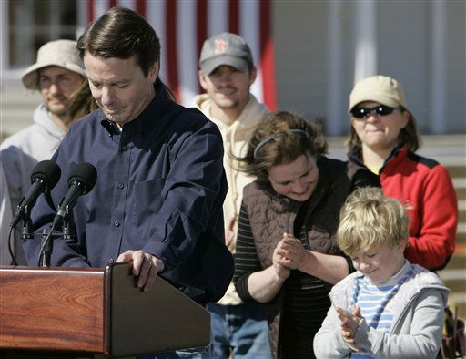 Democrat John Edwards announces his withdrawal from the presidential race in the Hurricane Katrina stricken Ninth Ward of New Orleans, La., Wednesday, Jan. 30, 2008.  Edwards&#39; wife Elizabeth and son Jack applaud.  <span class=meta>(AP Photo&#47; Alex Brandon)</span>