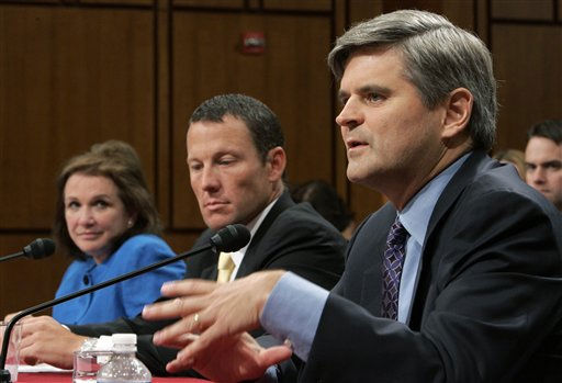 Entrepreneur Steve Case, right, testifies before the Senate Health, Education, Labor, and Pensions committee during a hearing on the challenges and opportunities for fighting cancer, Thursday, May 8, 2008 on Capitol Hill in Washington as cancer fighter Elizabeth Edwards, wife of former Democratic presidential hopeful Sen. John Edwards, D-N.C., left, and  cancer survivor and seven-time Tour de France winner Lance Armstrong, center, listen.   <span class=meta>(AP Photo&#47; Susan Walsh)</span>