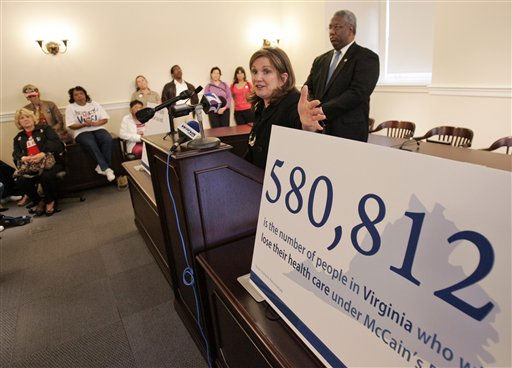 Elizabeth Edwards, wife of former Democratic Presidential candidate, John Edwards, gestures during a press conference on health care at the Capitol  in Richmond, Va., Tuesday, Oct. 7, 2008. State Sen. Donald McEachin, D-Henrico, right, listens.   <span class=meta>(AP Photo&#47; Steve Helber)</span>