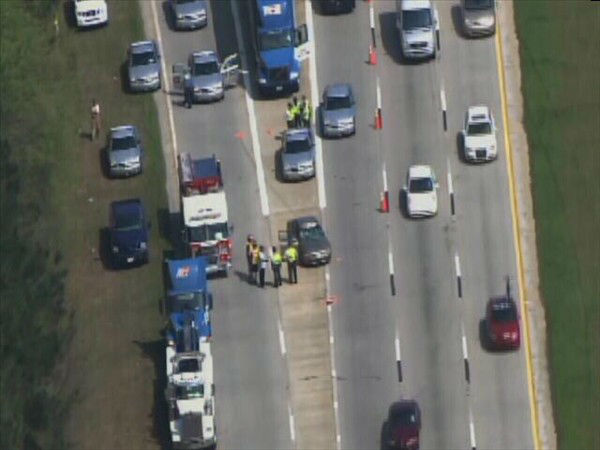 Two eastbound lanes of I-40 were closed Monday morning at Jones Sausage Road after a crash. <span class=meta>(WTVD Photo)</span>