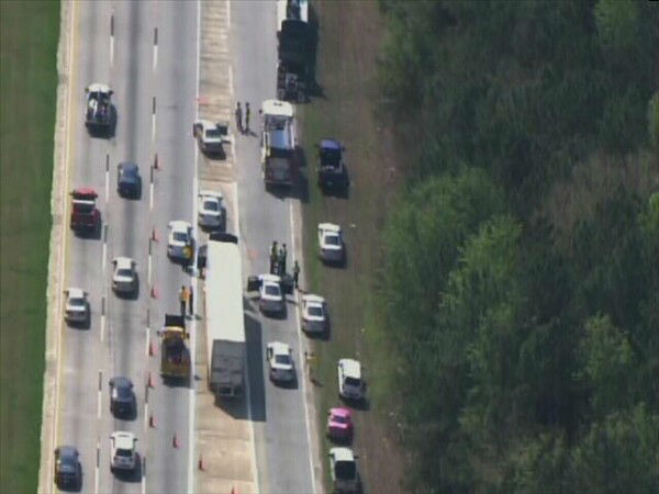 "<div class=""meta ""><span class=""caption-text "">Two eastbound lanes of I-40 were closed Monday morning at Jones Sausage Road after a crash. (WTVD Photo)</span></div>"