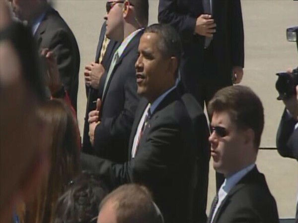 President Obama arrives at RDU. <span class=meta>(WTVD Photo)</span>