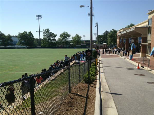 "<div class=""meta ""><span class=""caption-text "">People line up at UNC's Carmichael Arena to see the President. (WTVD Photo)</span></div>"