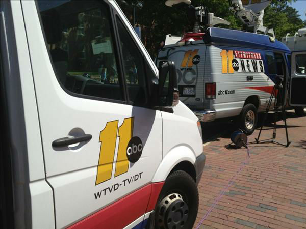Team coverage outside UNC&#39;s Carmichael Arena for the President. <span class=meta>(WTVD Photo)</span>
