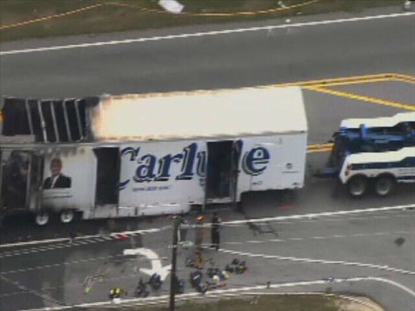 Two trucks burst into flames after one rear-ended the other on Hwy 258 south of Kinston. <span class=meta>(WTVD Photo)</span>