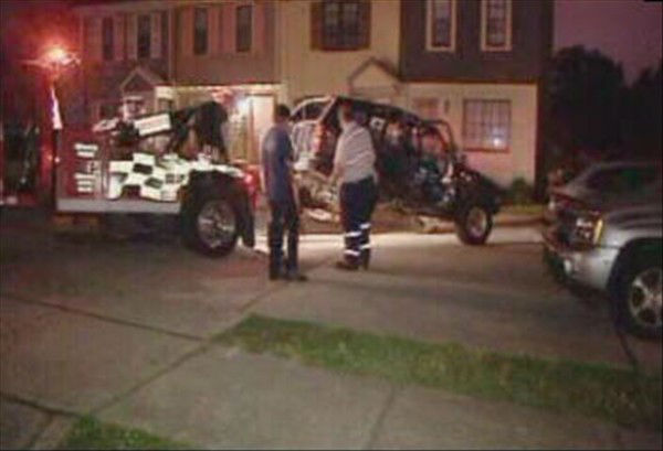 "<div class=""meta ""><span class=""caption-text "">Police said a vehicle veered into eight parked cars in front of the Greenpark townhomes located in the 4400 block of Brockton Road early May 1. (WTVD Photo)</span></div>"