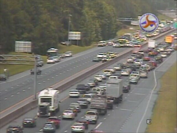 "<div class=""meta ""><span class=""caption-text "">A chain reaction crash shut down all lanes of Interstate 40 at Hwy 751 near the Streets at Southpoint Monday afternoon. (WTVD Photo/ Image courtesy NCDOT)</span></div>"