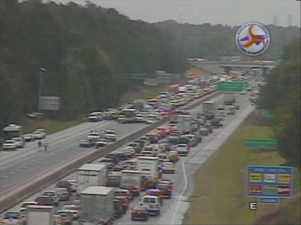 A chain reaction crash shut down all lanes of Interstate 40 at Hwy 751 near the Streets at Southpoint Monday afternoon. <span class=meta>(WTVD Photo&#47; Image courtesy NCDOT)</span>