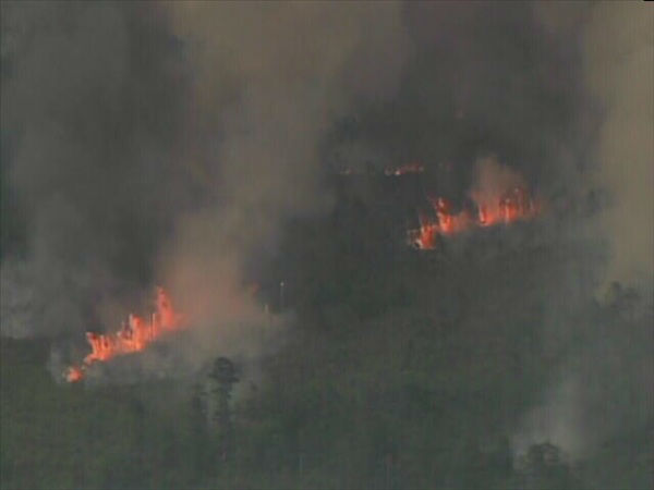 "<div class=""meta image-caption""><div class=""origin-logo origin-image ""><span></span></div><span class=""caption-text"">Pictures from Chopper 11 show a huge wildfire burning in the Croatan National Forest near New Bern. (WTVD Photo)</span></div>"